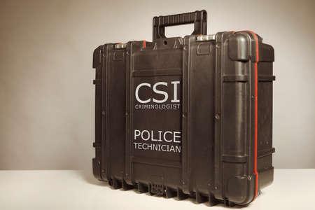 Suitcase of criminologist technician for use on crime scene Reklamní fotografie
