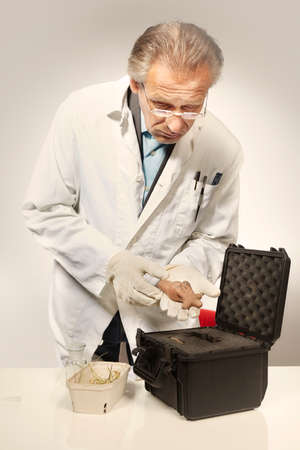 Museum specialist unboxing prehistorical artifact statue