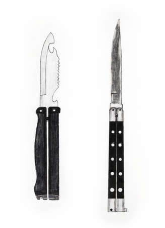 Handmade color drawing of contemporary folding butterfly knives collectibles