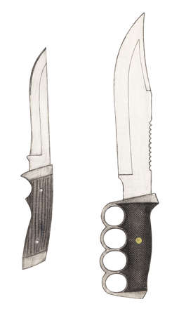 Handmade color drawing of contemporary fixed blade knives collectibles
