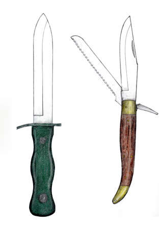 Handmade color drawing of contemporary knife collectibles