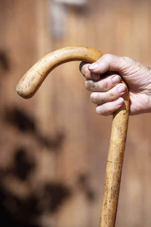 lean on hands: hand of an old peasant woman holding a walking stick
