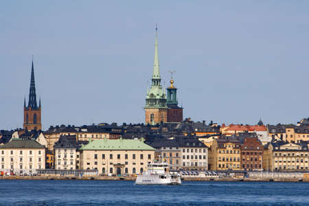sweden stockholm, skyline of the old town with city hall tower Stock Photo