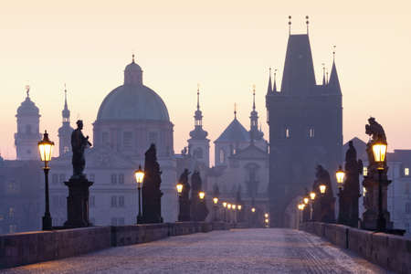 czech republic prague, charles bridge at dawn