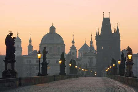 czech republic prague, charles bridge at dawn