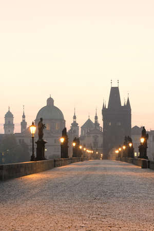 praha: czech republic prague, charles bridge at dawn