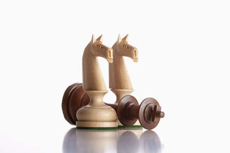 defeated: chess - white knights standing over defeated black king Stock Photo