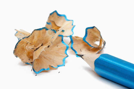 sharpenings: pencil with shavings after being sharpened isolated on white
