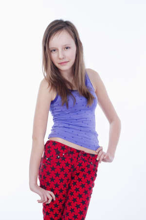 11 year old: studio portrait of a pretty, eleven years old girl