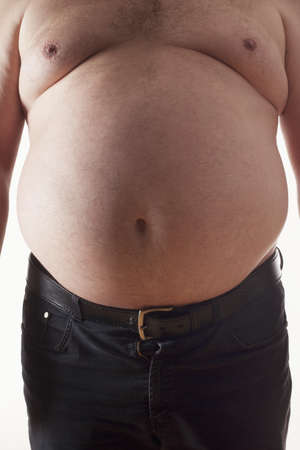 big belly of a fat man isolated on white Stock Photo - 6907702