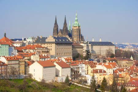 vitus: prague - view of hradcany castle and st. vitus cathedral in spring Stock Photo