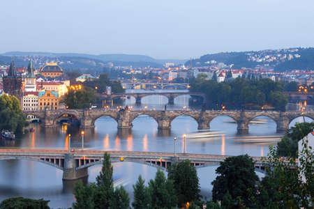 czech republic, prague - bridges over vltava river at dusk Stock Photo - 7532315