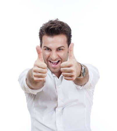 excited man laughing holding his both thumbs up - isolated on white Stock Photo