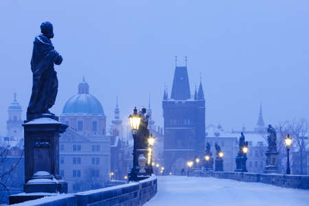 czech republic prague - charles bridge in winter morning
