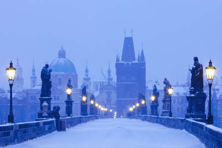 czech republic prague - charles bridge in winter morning photo
