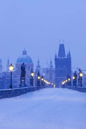czech republic prague - charles bridge in winter morning