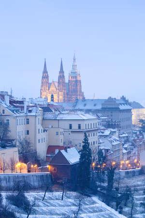 prague in winter - lesser town (mala strana) and hradcany castle at dusk Stock Photo - 8744827