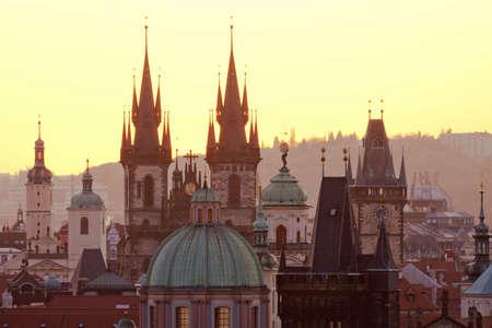 tyn: czech republic, prague - spires of the old town and tyn church