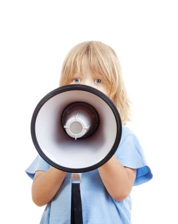 boy with long blond hair playing with a megaphone - isolated on white photo
