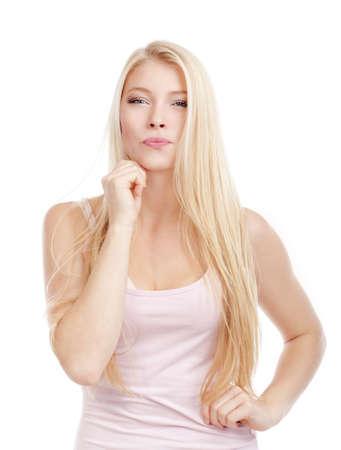 portrait d'une belle jeune femme aux cheveux blonds - isol� sur blanc Banque d'images - 10982266