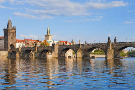 charles bridge: czech republic prague - charles bridge and spires of the old town