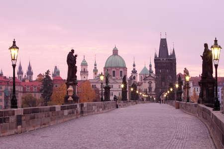 r�publique  tch�que: R�publique Tch�que Prague - Pont Charles et clochers de la vieille ville, � l'aube