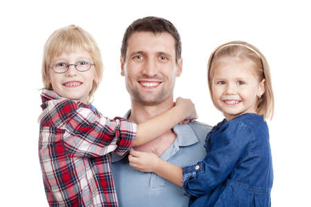 father with his two children looking at the camera, smiling - isolated on white Stock Photo - 11721157