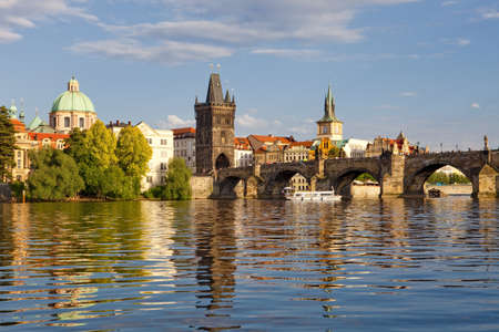 czech republic prague - charles bridge and spires of the old town photo