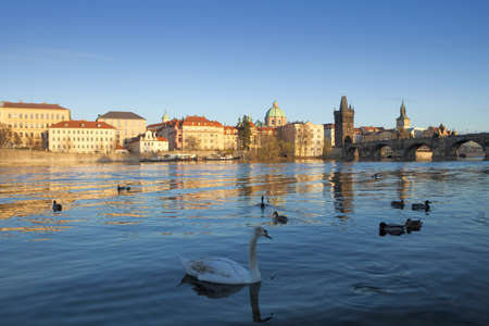 spires: czech republic prague - charles bridge and spires of the old town