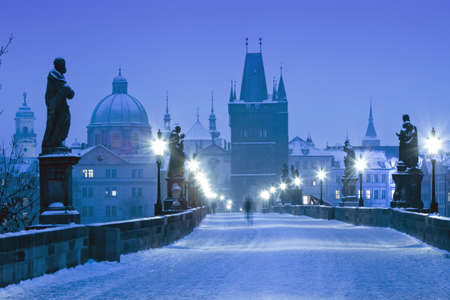 czech republic prague - charles bridge on winter morning