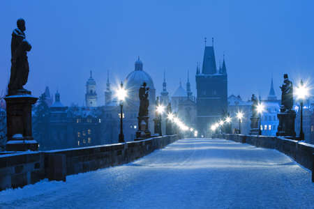 praha: Czech Republic Prague - Charles Bridge and spires of the Old Town at dawn