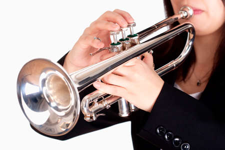 Closeup of Trumpet Player Playing - Isolated on White Stock Photo