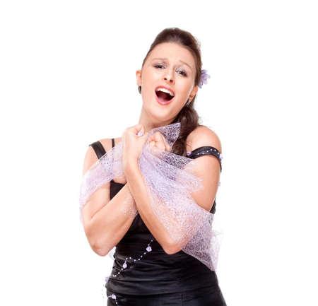 オペラ歌手は彼女のステージ ドレス - 白で隔離され実行します。 写真素材