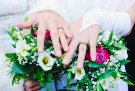 lesbianas: Boda lesbiana - reci�n casado Mujeres que muestran sus anillos Foto de archivo