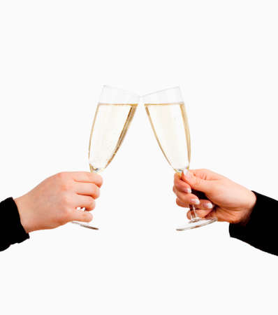 Two Hands Holding Glasses of Champagne Toasting - Isolated on White Фото со стока