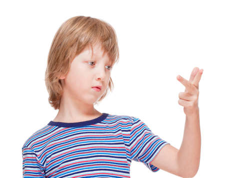 Boy Counting on Fingers of his Hand - Isolated on White Stock Photo