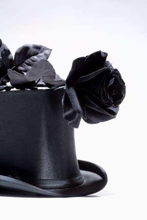 Black Top Hat and Black Rose  photo
