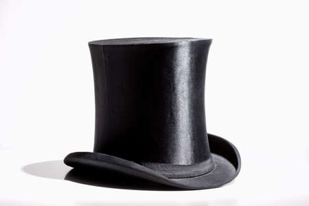 stovepipe hat: Black Top Hat - Isolated on White Stock Photo