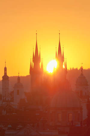spires: Czech Republic, Prague - Spires of the Old Town at Sunrise