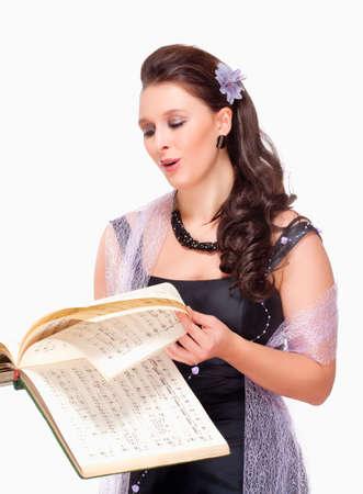 Opera Chanteur dans sa robe de scène - isolé sur blanc Banque d'images