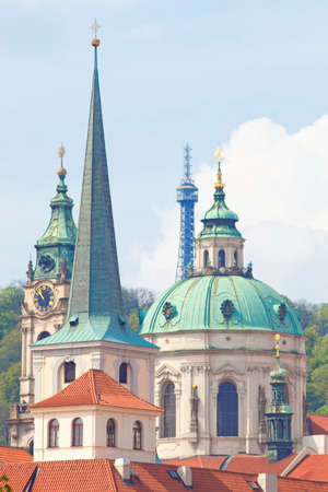 spires: Czech Repunlic, Prague - Spires of Lesser Quarter and St. Nicholas Church Stock Photo