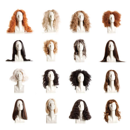 wigs: Composite of Mannequin Female Heads with Wigs