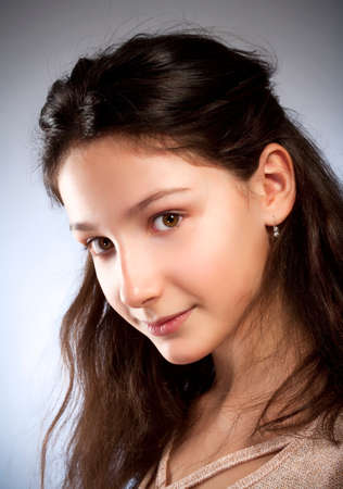 preadolescent: Portrait of a Preadolescent Girl with Brown Hair