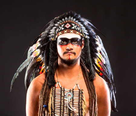 Native American Indian Chief War Bonner Headdress Stock Photo