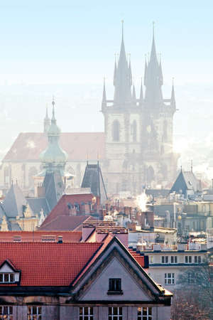 Czech Republic, Prague - The Old Town and Tyn Church on Misty Morning