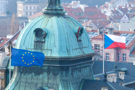 Czech Republic, Prague - Flags on the Seat of the Government.