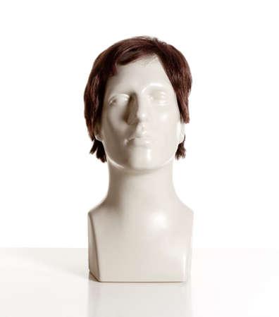 Mannequin Male Head with Wig on White Zdjęcie Seryjne