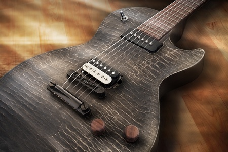 limelight: Electric Guitar in a Limelight  Stock Photo