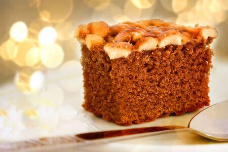 Coffee Cake on Bokeh Background  Stock Photo