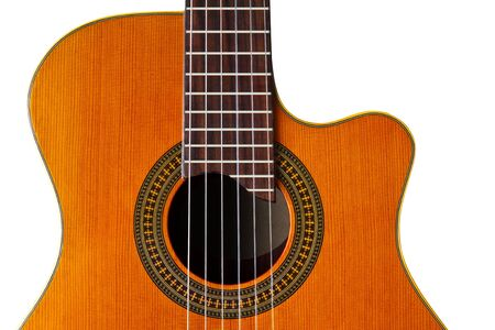 nylon string: Cutaway Classical Acoustic GuitarIsolated  Stock Photo